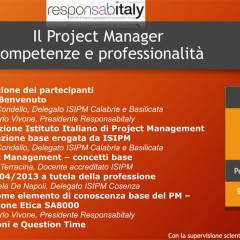 Responsabitaly presenta il Workshop - Il Project Manager, competenze e professionalità